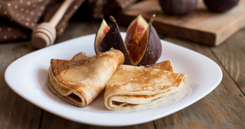 Walnut Crepes with Dried Figs and Raspberries