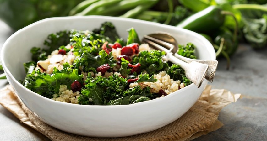 Monster Kale Salad with Quinoa for Lunch