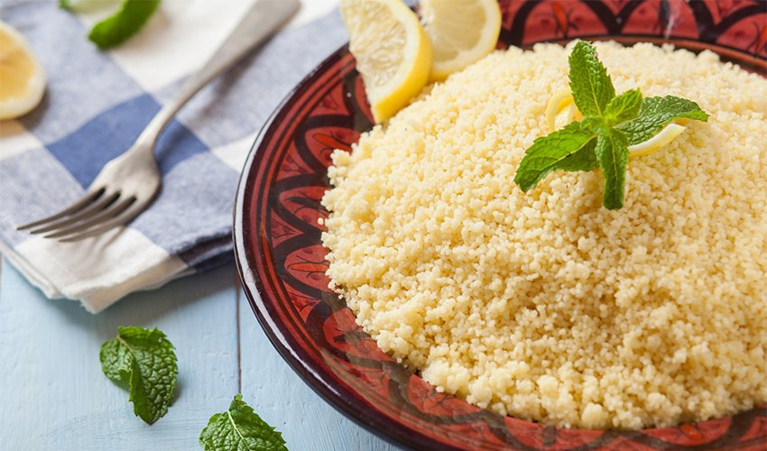 Vegan Couscous with Lemon, Peppers and Olives