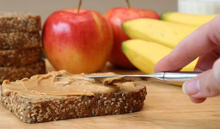 Apple Cashew spread sandwich
