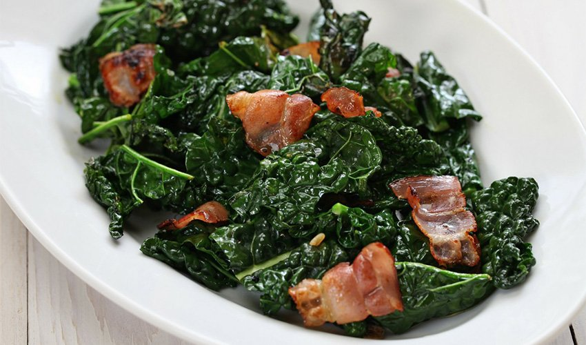 Grilled kale with bacon vinaigrette