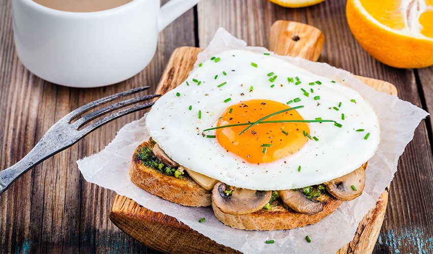 Mushroom and fried egg sandwich