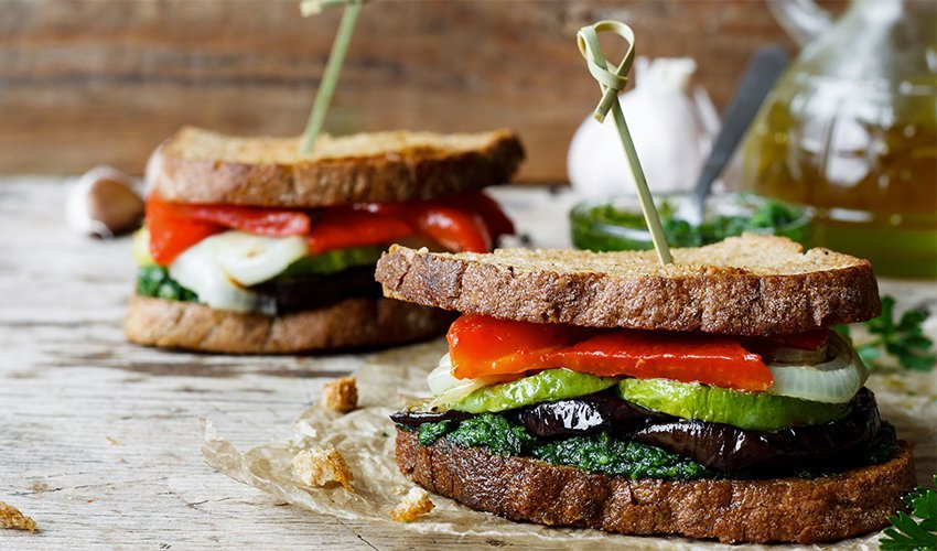 Roasted veggies in pesto sandwich