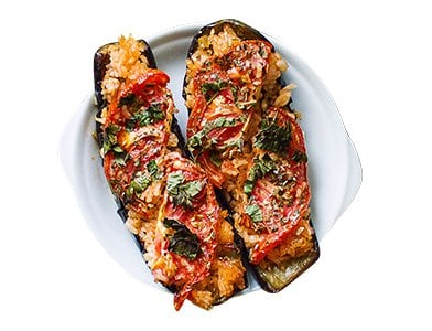 Fried Eggplant with Rice and Tomatoes