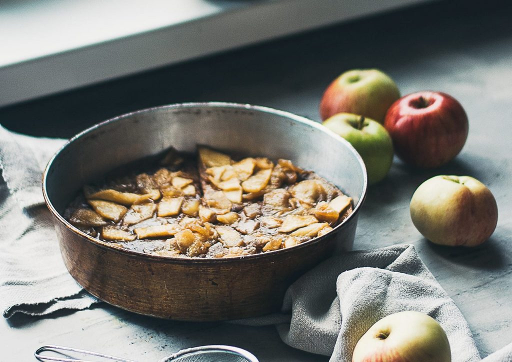 Vegan Dutch Baby with Caramelized Apples