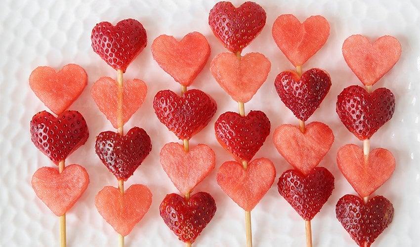 Heart shaped fruit kebobs