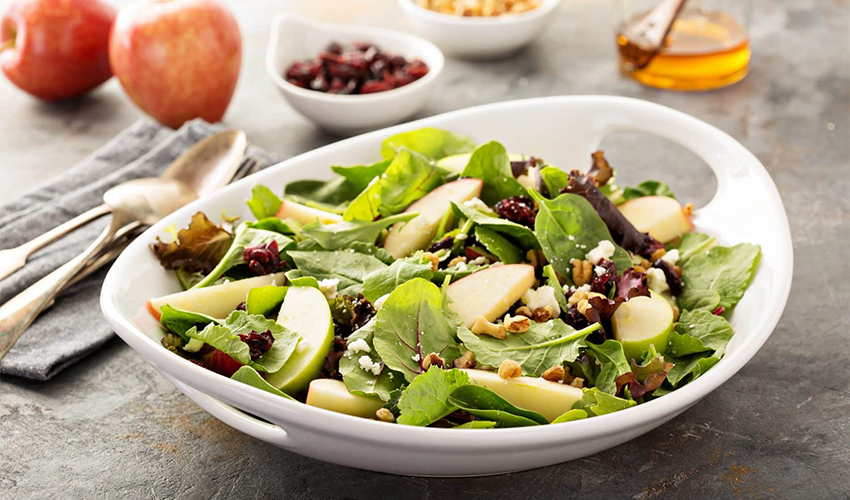 Green Salad with Apples and Dried Cranberries