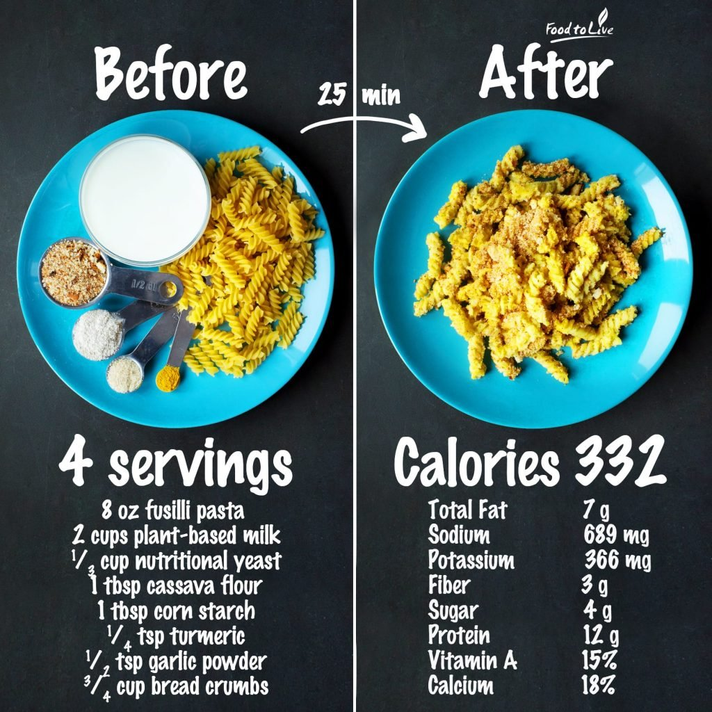 Vegan Mac and Cheese nutrition