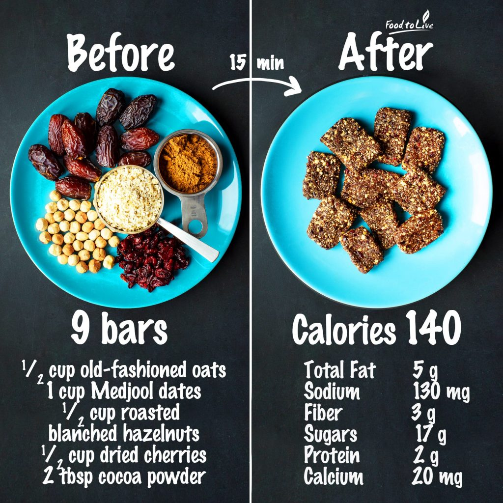 no-bake hazelnuts-cherry bars nutrition