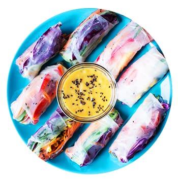 Rainbow Spring Rolls with Peanut Sauce