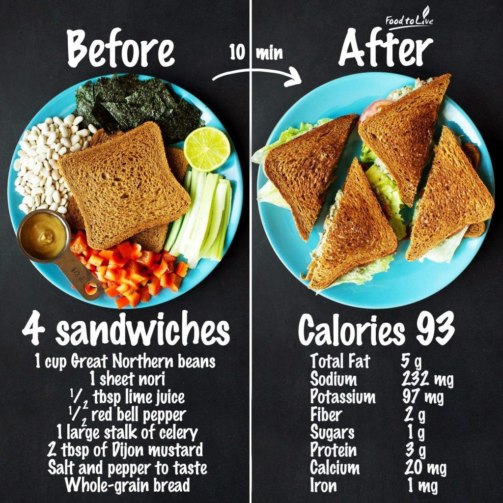 vegan tuna salad sandwich nutrition