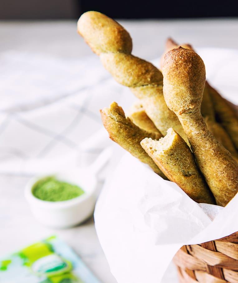 Spinach Powder Vegan Breadsticks