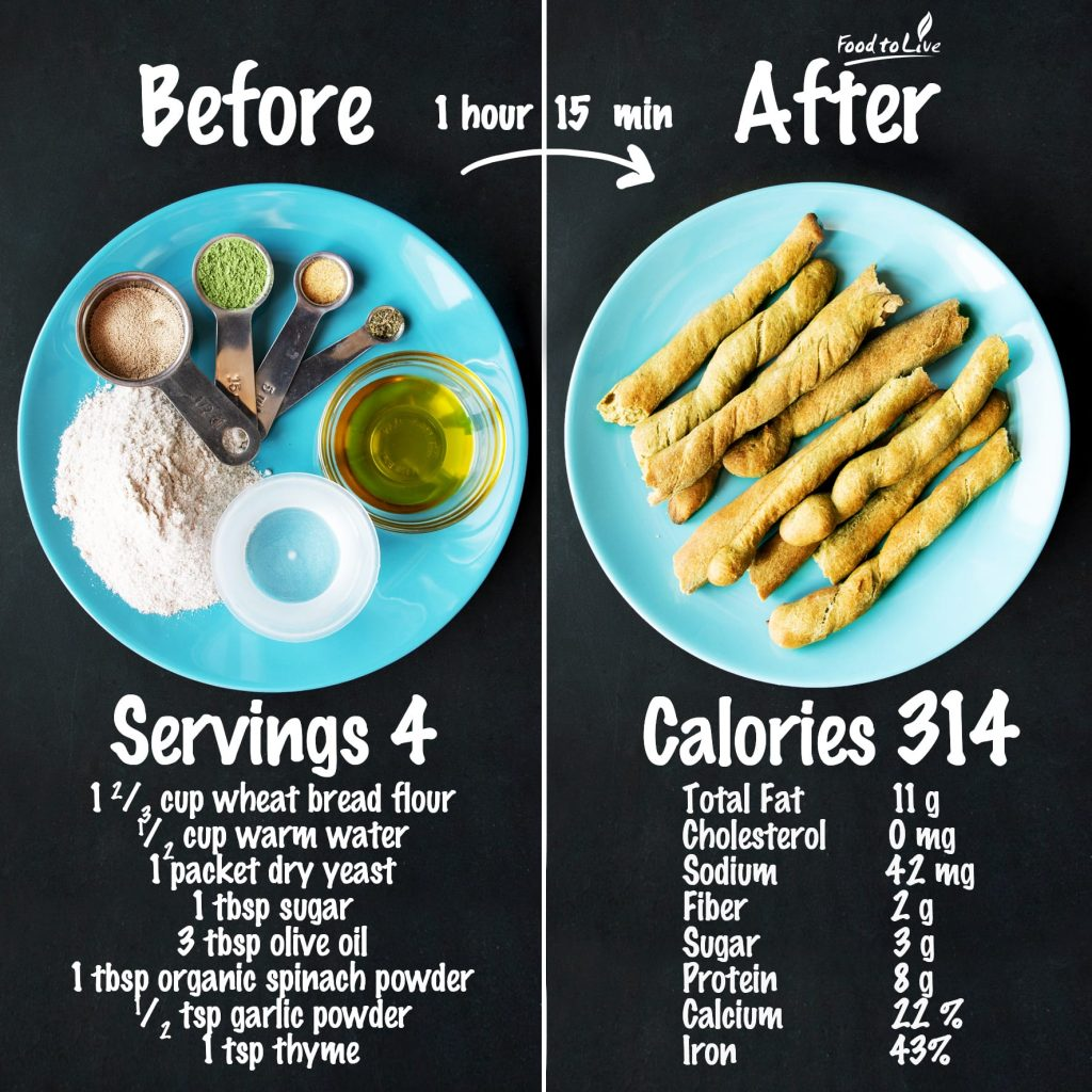 spinach powder breadsticks nutrition