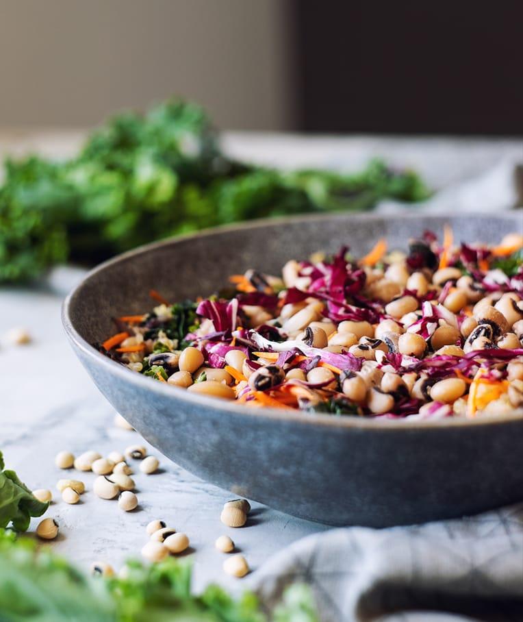 Rainbow Greens Salad with Black Eyed Peas