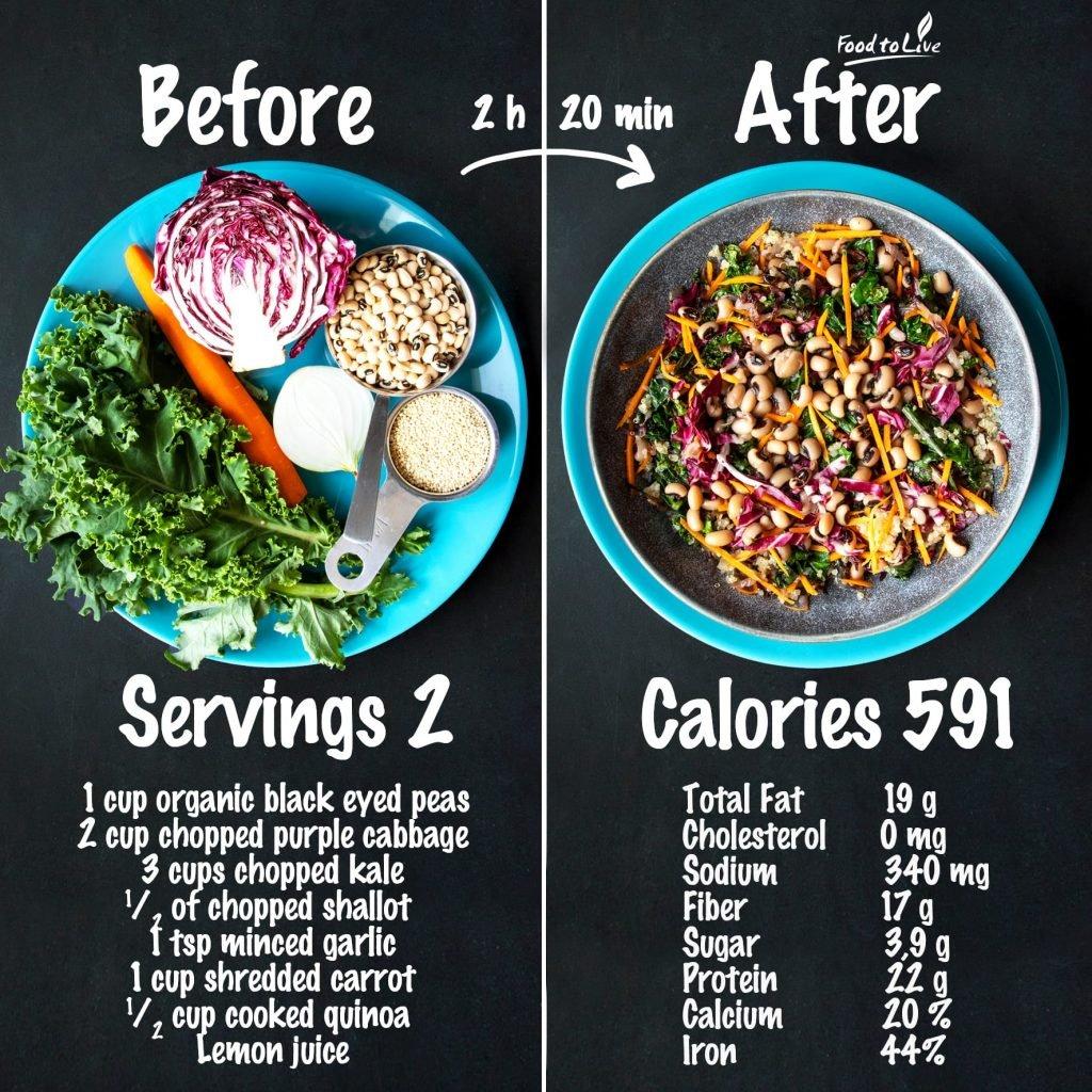 Rainbow Greens Salad with Black Eyed Peas nutrition