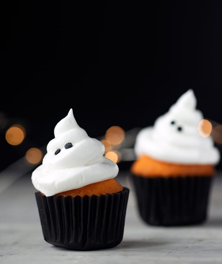 Halloween Orange Velvet Ghost Cupcakes