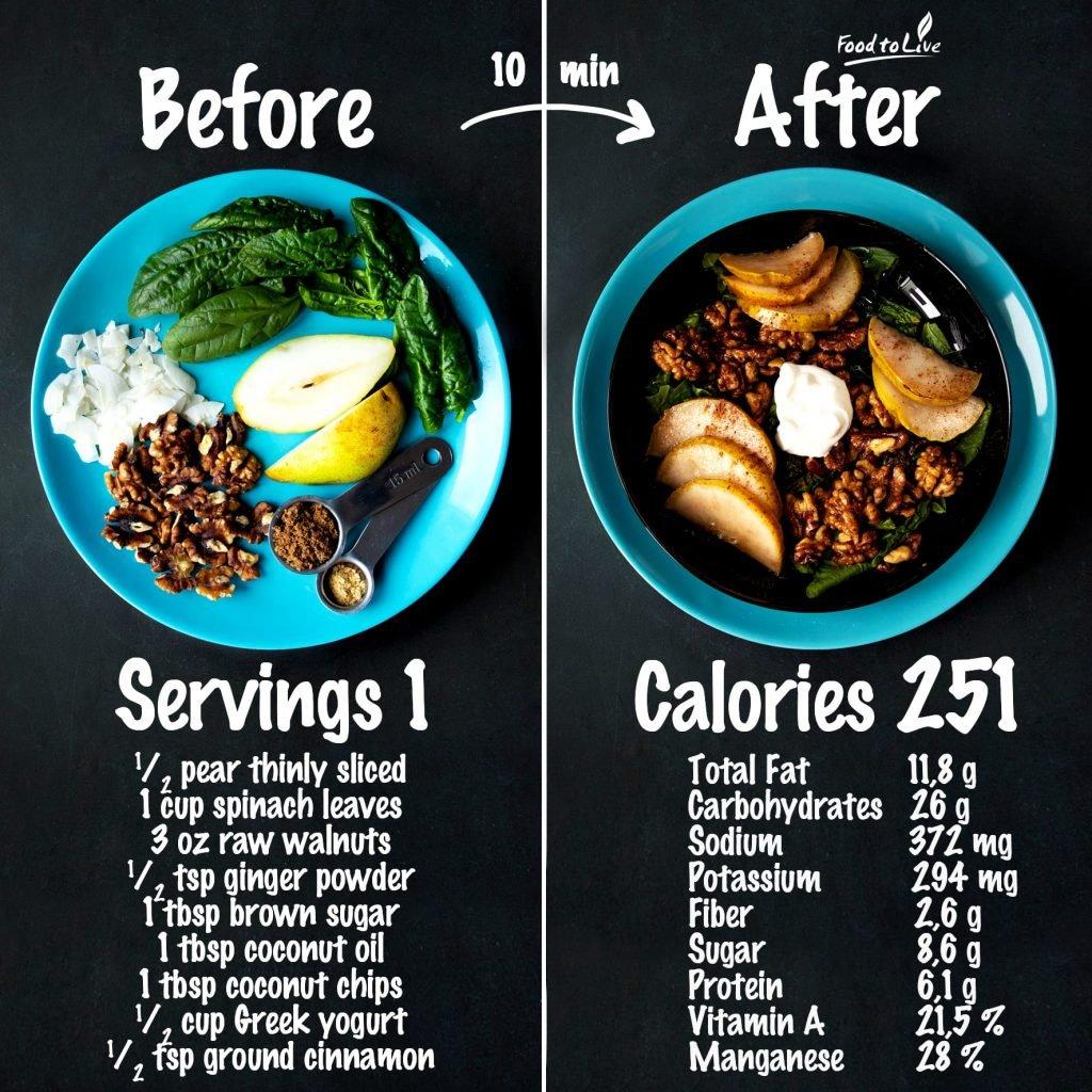 Warm Ginger Pear & Walnut Breakfast Salad nutrition