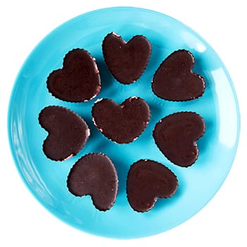 Chocolate Raspberry Heart Cups