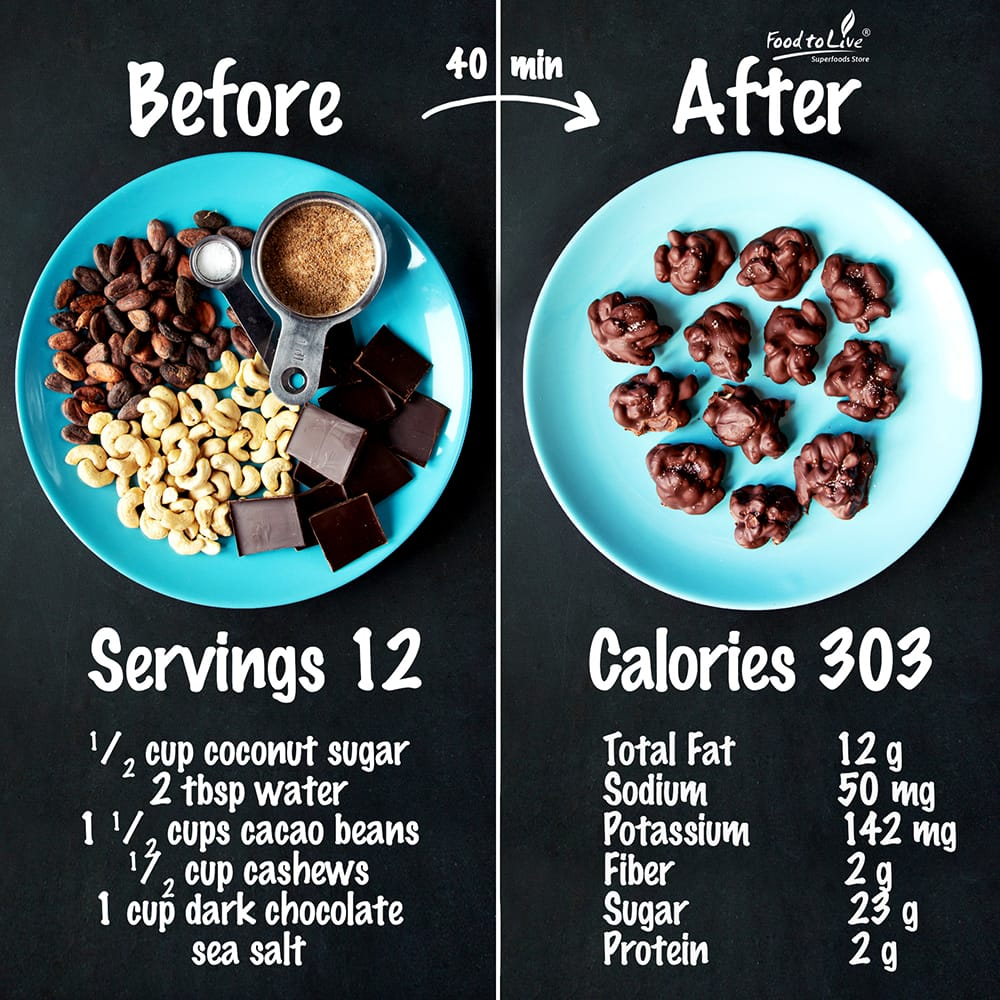Caramelized Cacao Bean & Cashew Clusters nutrition