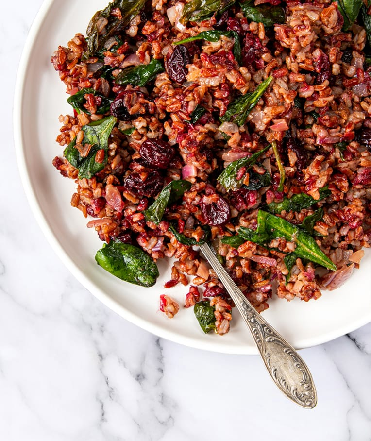 Red Rice with Spinach and Dried Cherries