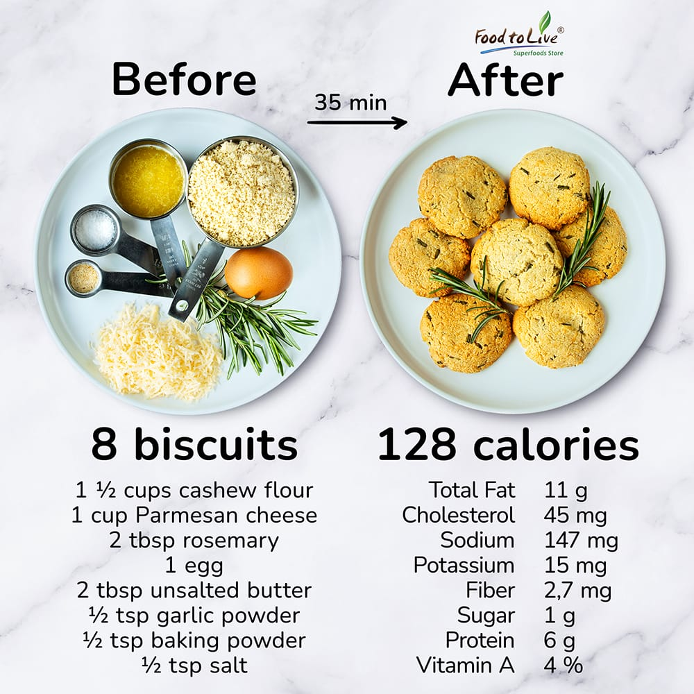 rosemary cashew flour biscuits nutrition