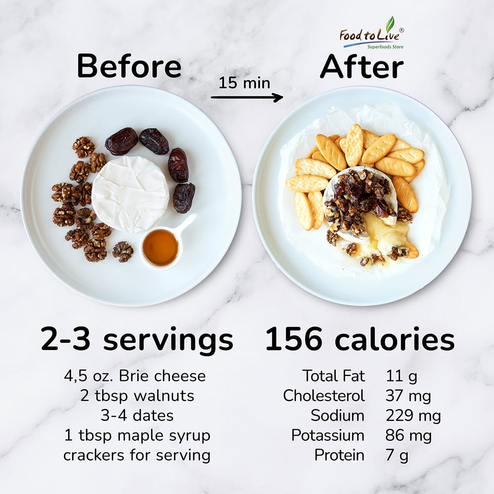 Easy Baked Brie with Dates & Walnuts nutriton