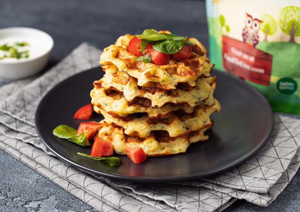 zucchini cheddar corn waffles