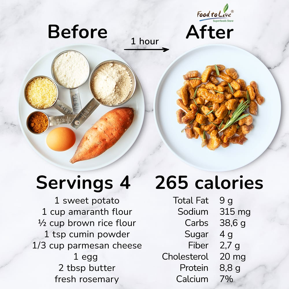 amaranth sweet potato gnocchi nutrition