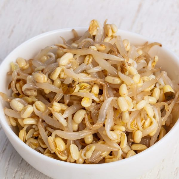 Appetizing bowl of sprouts mung beans