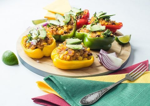 Spanish-style quinoa stuffed peppers