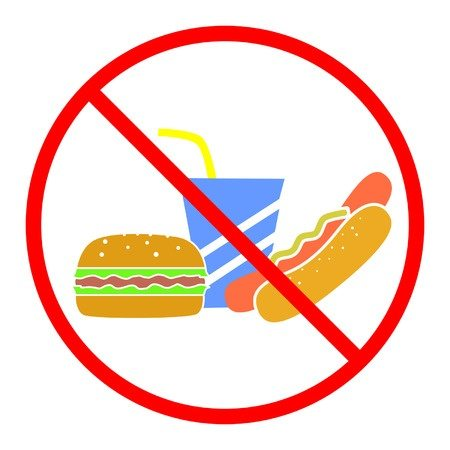 illustration with a ban for junk food