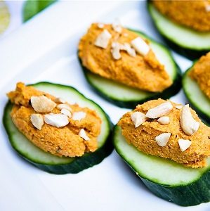 Cashew carrot pate and cucumber