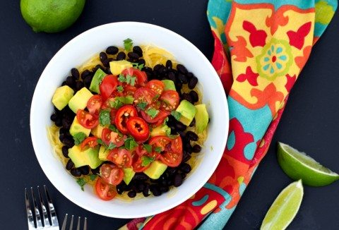 Vegan Spaghetti Squash and Black Bean Mexican Bowl (Gluten-Free)
