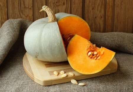 Pumpkin, cut with seeds inside