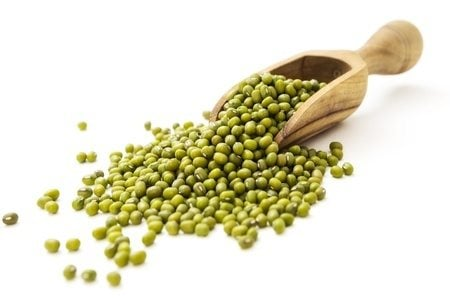 Mung beans in the wooden scoop