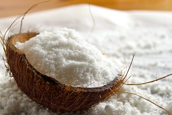 Desiccated coconut in the coconut shell