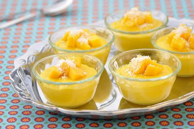 Mango Pudding with Shredded Coconut and Pecans on the iron tray
