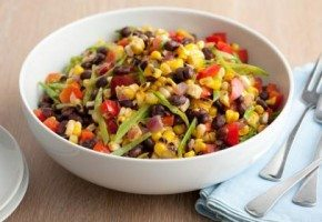 Black bean corn salad in a white plate
