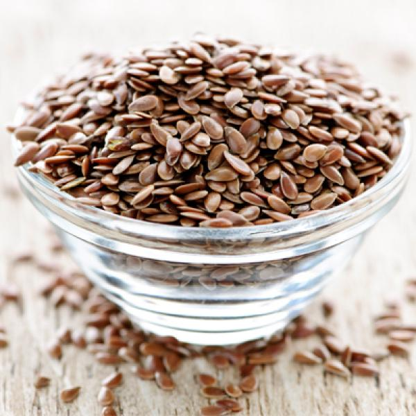 Flaxseeds in a glass bowl