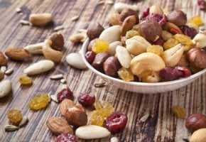 Dried fruits and nuts in a plate