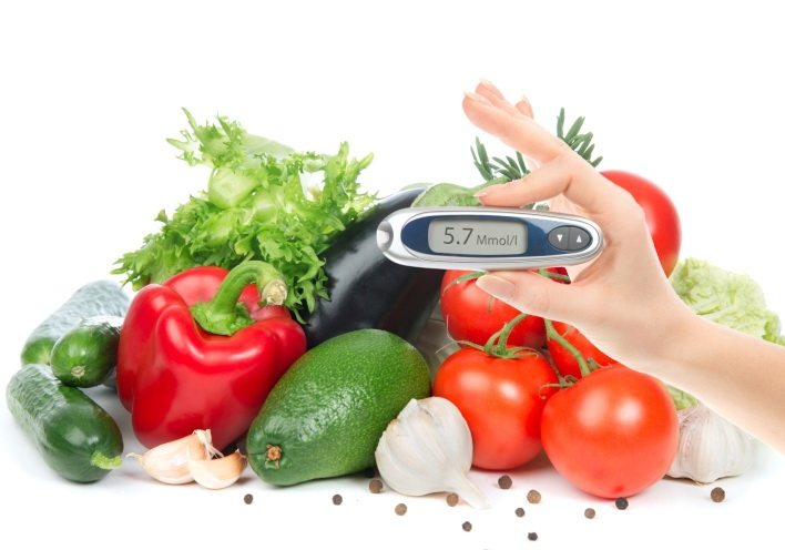Vegetables and a woman measuring a glucose level
