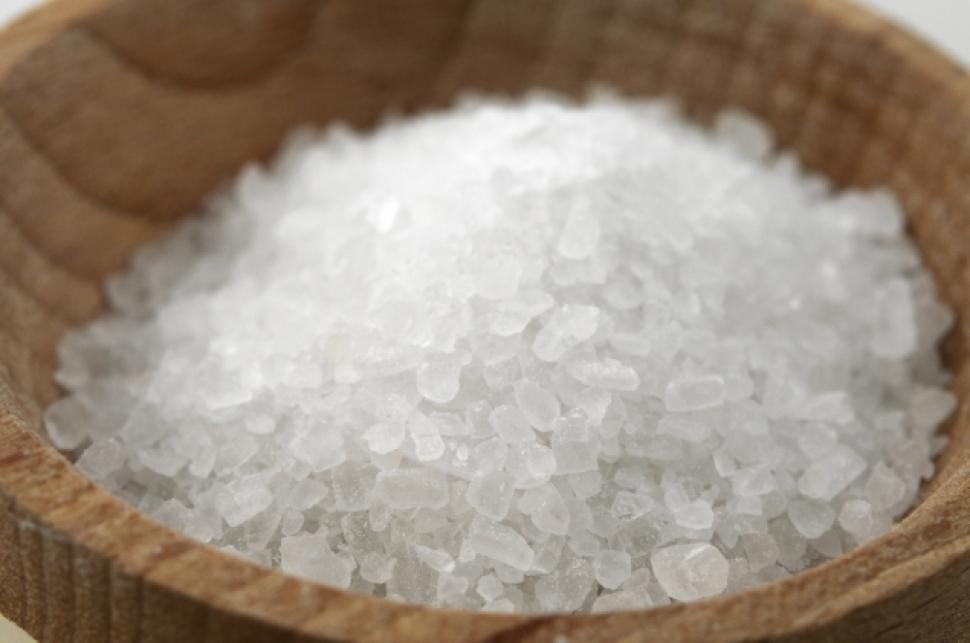 Coarse sea salt in a bowl