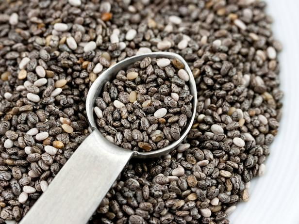 A spoon with chia seeds