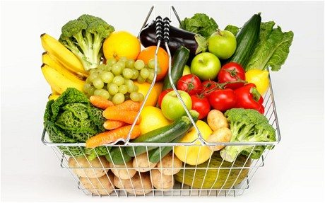 Fruits and vegetables in a shopping busket