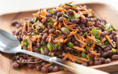 Cooking adzuki beans on a plate