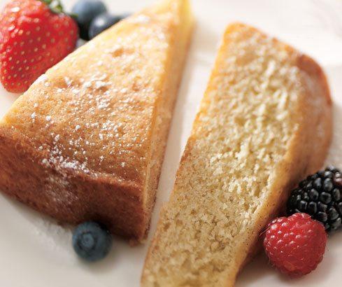 Two slices of gluten-free vanilla cake