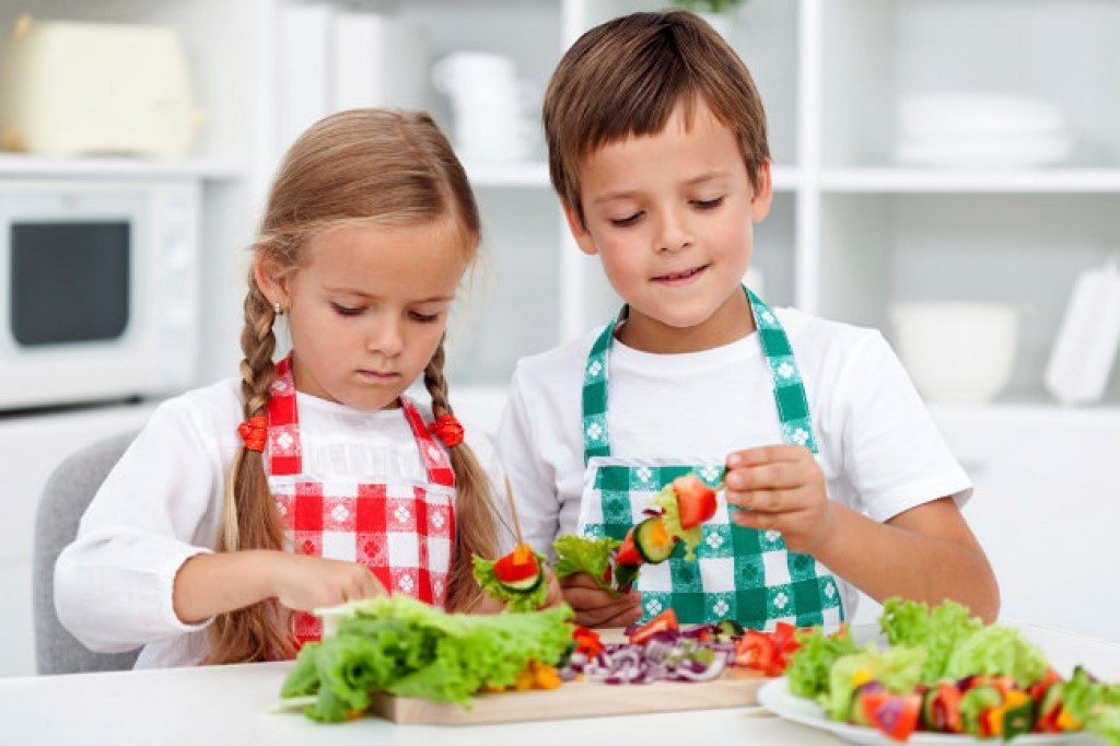 kids cooking vegetarian meals