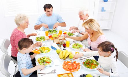 family members enjoying a healthy vegetarian lunch