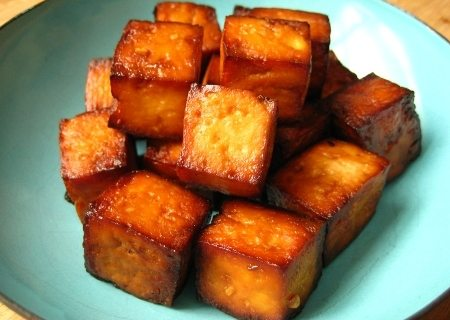 a baked tofu on the plate