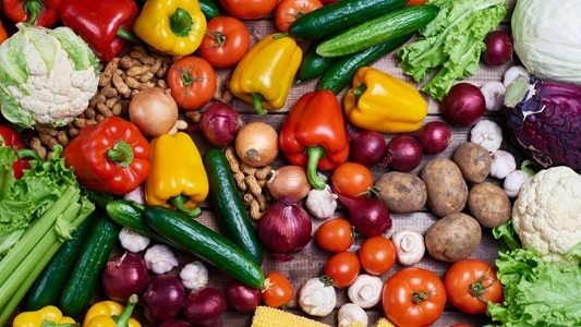 vegetables and fruits included into a vegetarian diet